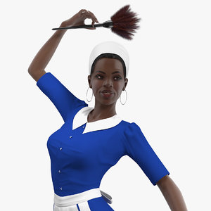 3D dark skin black maid model