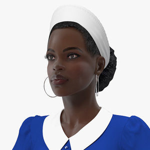 3D dark skin black maid