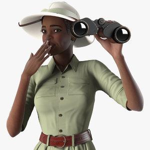 dark skin black woman 3D model