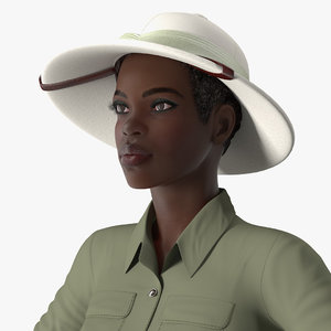 3D dark skin black woman