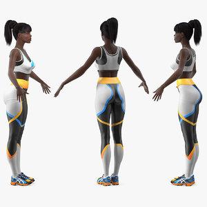 dark skin fitness woman rigged 3D