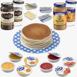 3D model pancakes plate jar butter