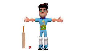 3D model cricket player boy cartoon