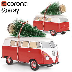 volkswagen t1 christmas 3D model