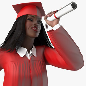 dark skin graduation gown 3D