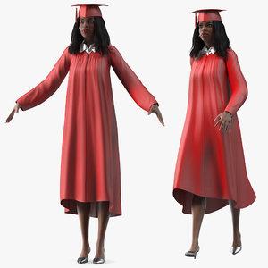 dark skin graduation gown 3D model