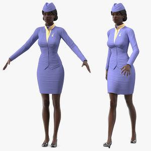 3D dark skinned black stewardess model