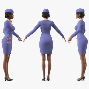 3D light skin black stewardess model