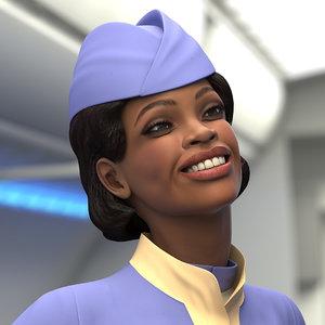 light skin black stewardess 3D