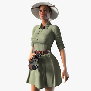 light skin black woman 3D model