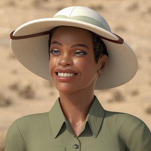 3D light skin black woman model