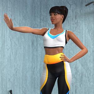light skin fitness woman rigged 3D model