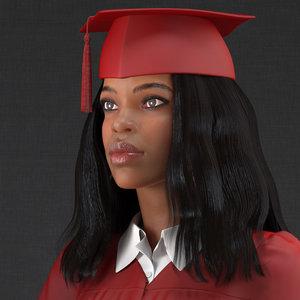 light skin graduation gown 3D model