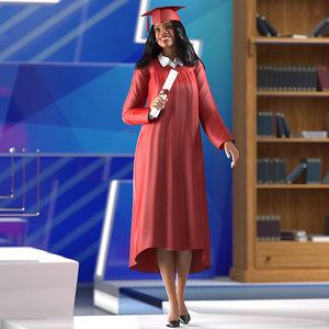3D light skin graduation gown