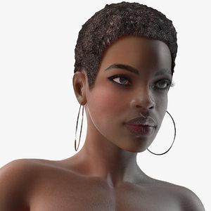 nude dark skin woman rigged 3D model