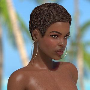 3D nude dark skin woman rigged