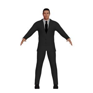 3D adult man asian suit model