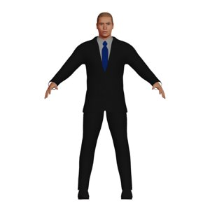 white blonde business man 3D