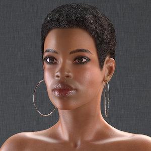 nude light skin black 3D model
