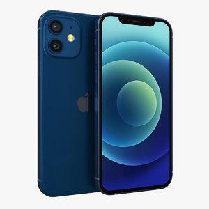 3D apple iphone 12 blue model