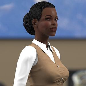 dark skin business style 3D model