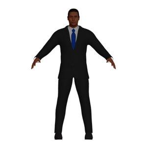 adult black businessman character 3D model
