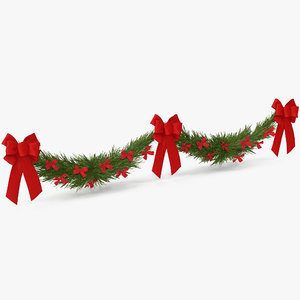 christmas garland bows v 3D