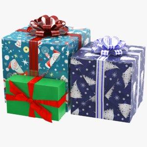 real gift boxes ribbon 3D model