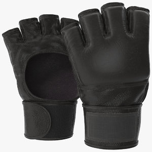 leather fight gloves 3D model