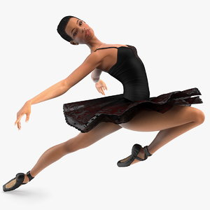 3D model light skinned black ballerina