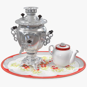 3D vintage electric samovar set
