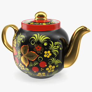 3D vintage khokhloma ornament teapot model