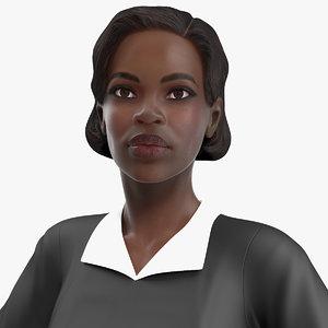 3D dark skin judge woman rigged model