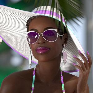 dark skinned bikini girl 3D model