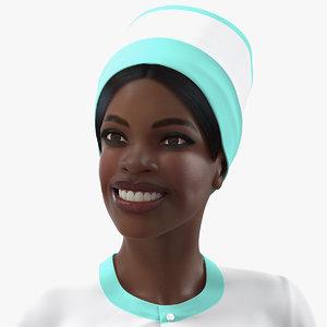 dark skinned black nurse model