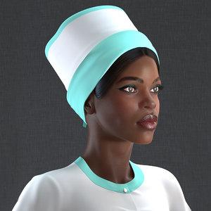 3D model dark skinned black nurse