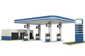 cartoon gas station model