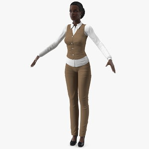 3D dark skin business style model