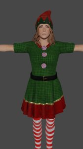 women holiday elf low-poly 3D model