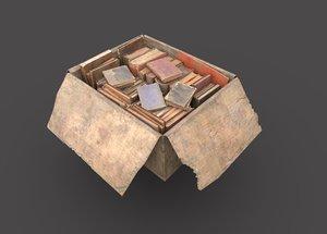 3D dirty book cardboard box model