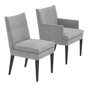 3D model chair grey upholstery