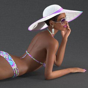 light skinned bikini girl 3D model