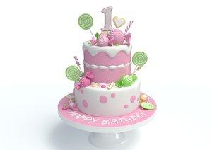kids birthday candy cake 3D