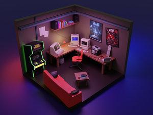 3D isometric hacker room model