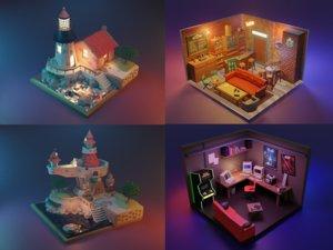 3D rooms castles