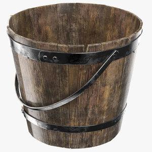 3D wooden bucket pbr 8k