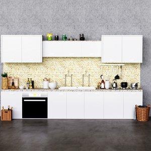 3D modern kitchen cabinet