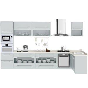 3D modern kitchen cabinet model