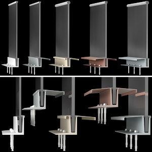 high-tech style glass railings 3D model