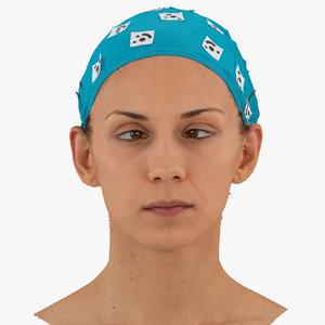 athena human head cross-eyed 3D model
